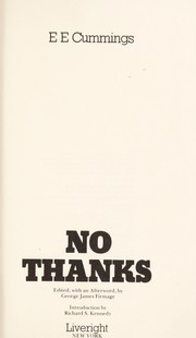 Cover of: No thanks