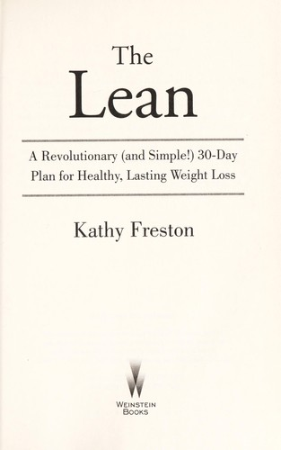 The Lean A Revolutionary And Simple 30 Day Plan For Healthy