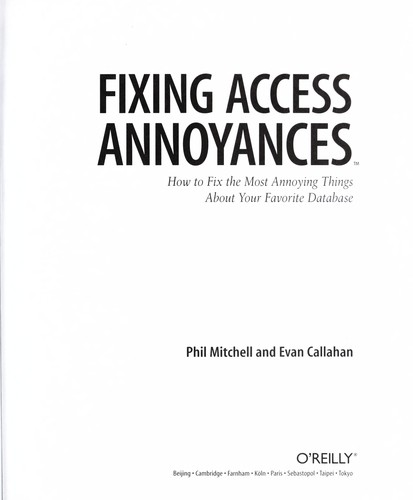 Fixing Access annoyances by Phil Mitchell