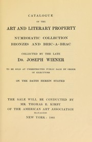 Cover of: Collection of the late Dr. Joseph Wiener | American Art Association