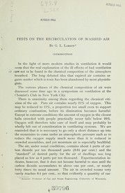 Cover of: Tests on the recirculation of washed air ... | Gustus Ludwig Larson