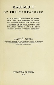 Cover of: Massasoit of the Wampanoags | Alvin G. Weeks