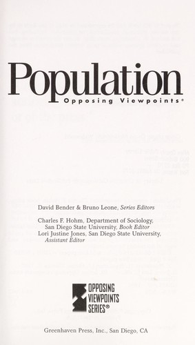 Population by Charles F. Hohm, book editor, Lori Justine Jones, assistant editor.