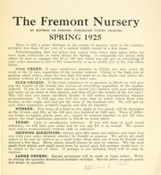 Cover of: Spring 1925 [price list] | Fremont Nursery