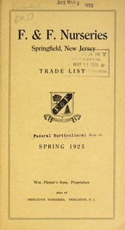 Cover of: Trade list | F & F Nurseries