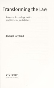 Cover of: Transforming the law