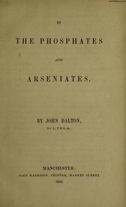 Cover of: On the phosphates and arseniates [and other chemical essays]