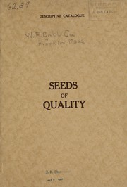 Cover of: Descriptive catalog of garden, flower and field seeds | W.F. Cobb Co