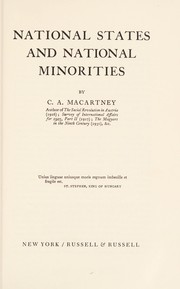 Cover of: National states and national minorities | C. A. Macartney