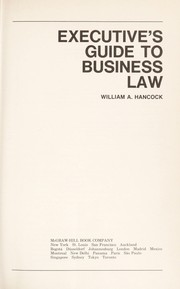 Cover of: Executive's guide to business law