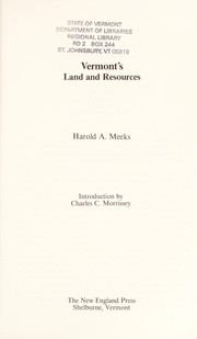 Cover of: Vermont's land and resources | Harold A. Meeks
