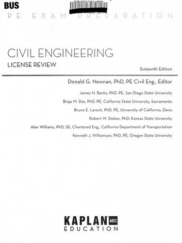 Civil engineering license review by Donald G. Newnan, editor ; James H. Banks ... [et al.].