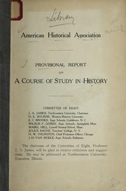 Cover of: Provisional report on a course of study in history