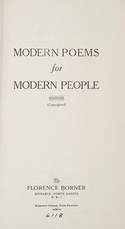 Cover of: Modern poems for modern people ... | Florence Borner