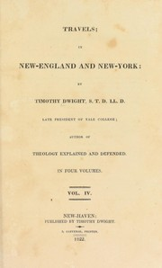 Cover of: Travels: in New-England and New York