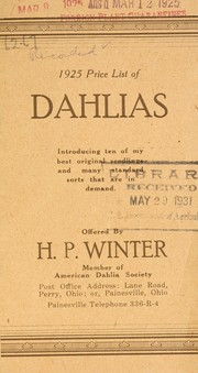 Cover of: 1925 price list of dahlias | H.P. Winter (Firm)