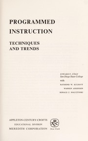 Cover of: Programmed instruction; techniques and trends | O'Day, Edward Francis