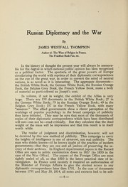 Cover of: Russian diplomacy and the war