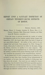 Cover of: Report upon a sanitary inspection of certain tenement-house districts of Boston