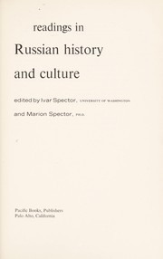 Cover of: Readings in Russian history and culture