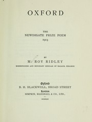 Cover of: Oxford ... | M. R. Ridley