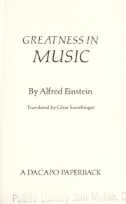 Cover of: Grösse in der Musik