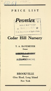 Cover of: Peonies | Cedar Hill Nursery (Brookville, N.Y.)