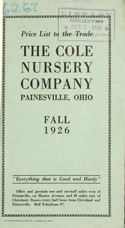 Cover of: Price list to the trade | Cole Nursery Company