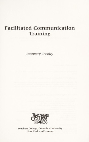Facilitated communication training by Rosemary Crossley