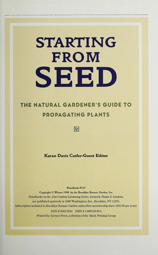 Starting from seed by Karan Davis Cutler, guest editor.