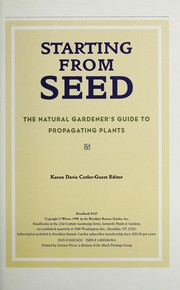 Cover of: Starting from seed | Karan Davis Cutler, guest editor.