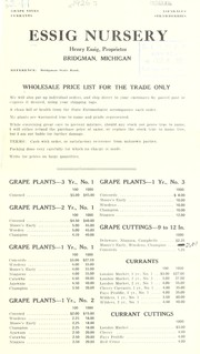 Cover of: Wholesale price list for the trade only | Essig Nursery