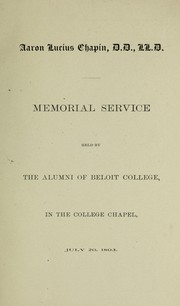 Cover of: Aaron Lucius Chapin D.D., LL.D. | Beloit College Alumni Association
