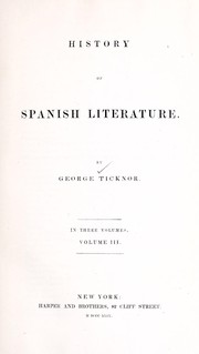 Cover of: History of Spanish literature