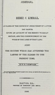 Cover of: Journal of Heber C. Kimball, an elder of the Church of Jesus Christ of Latter Day Saints