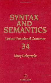 Lexical functional grammar by Mary Dalrymple