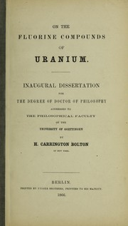 Cover of: On the fluorine compounds of uranium