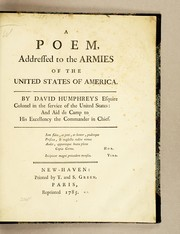 Cover of: A poem addressed to the armies of the United States of America: By a gentleman of the army. ; [Five lines of Latin quotations]