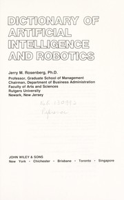Cover of: Dictionary of artificial intelligence and robotics