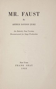 Cover of: Mr. Faust | Arthur Davison Ficke