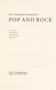 Cover of: Cambridge companion to pop and rock | edited by Simon Frith, Will Straw, and John Street.