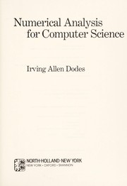 Cover of: Numerical analysis for computer science | Irving Allen Dodes