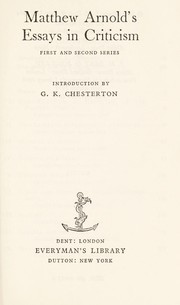Cover of: Matthew Arnold's essays in criticism by Matthew Arnold
