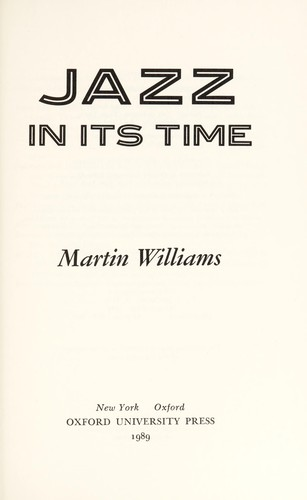 Jazz in its time by Martin T. Williams
