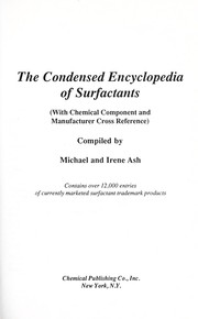 Cover of: Condensed Encyclopedia of Surfactants