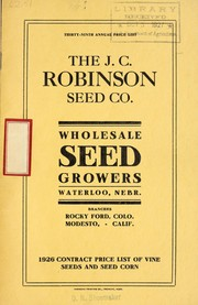 Cover of: Thirty-ninth annual price list | J.C. Robinson Seed Co
