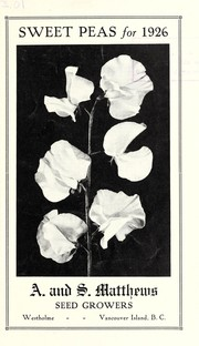 Cover of: Sweet peas for 1926 [catalog] | A. and S. Matthews (Firm)