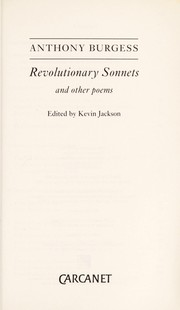 Cover of: Revolutionary Sonnets and Other Poems | Anthony Burgess