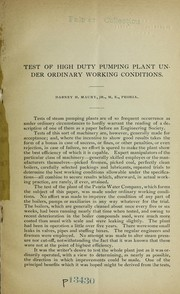 Cover of: Test of high duty pumping plant under ordinary working conditions