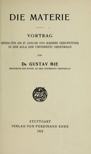 Cover of: Die Materie